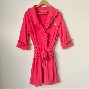 Juicy Couture Pink Robe Lined in Terry Cloth